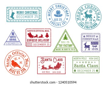 Santa Claus mail stamps. Vector deer and snowflakes, gingerbread man and sleigh, Christmastree and bullfinch. Post, postcard and letter element, direction or address, toy factory