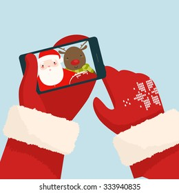 Santa Claus making selfie with reindeer on his smartphone. Vector Illustration
