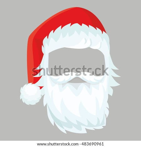 0112358713a5c Santa Claus mask with a Christmas hat and beard. Vector illustration  isolated.