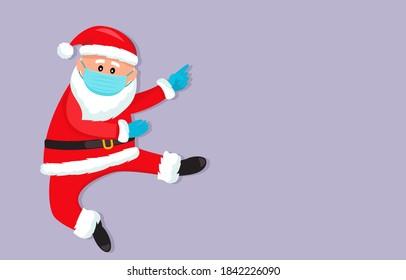 Der Weihnachtsmann in einer medizinischen Maske und chirurgischen Handschuhen. Covid 19 Präventionskonzept. Bleib zu Hause. flache Vektorgrafik-Isolation