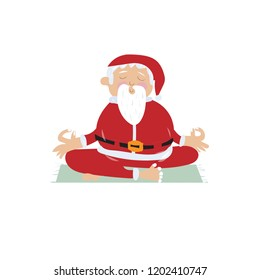 Santa Claus meditating in lotus position. Christmas Cartoon vector illustration.