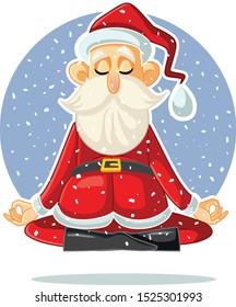 Santa Claus Meditating Vector Cartoon Illustration. Funny Santa in yoga lotus pose staying calm for the holiday