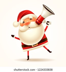 Santa Claus with megaphone. Isolated.