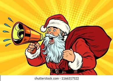 Santa Claus with megaphone. Pop art retro vector illustration vintage kitsch