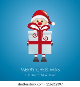 santa claus merry christmas blue background