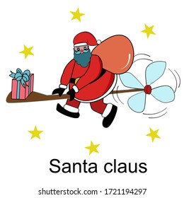 Santa claus in Merry Christmas day with presents on mini helicopter and yellow stars in sky.