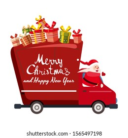 Santa Claus Merry Christmas drives a delivery van. Red delivery truck with gift boxes, side view cartoon style isolated