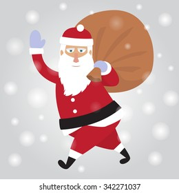 Santa Claus. Merry Christmas and happy new year, winter flat illustration.