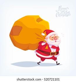 Santa Claus Merry Christmas vector cartoon illustration.