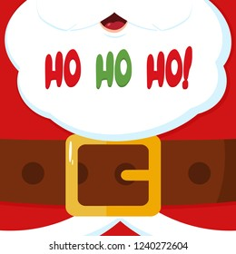 Santa Claus Message Banner With Text Ho Ho Ho. Vector Illustration Flat Design Background
