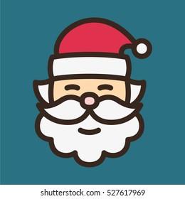 Santa Claus Minimal Color Flat Line Stroke Icon Pictogram Symbol Illustration