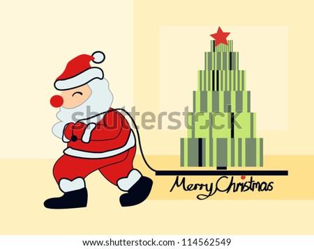 santa claus moving christmas gifts tree stock vector royalty free