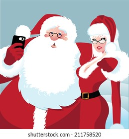 Santa Claus and Mrs. Claus take a selfie. EPS 10 vector