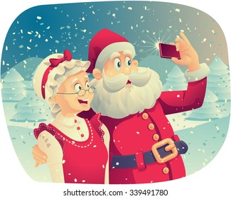 Santa Claus and Mrs. Claus Taking a Photo Together - Vector cartoon of Santa Claus and his wife taking a Christmas picture together.