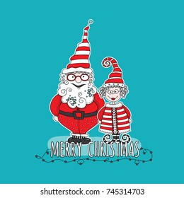 Santa Claus and Mrs Claus with the words merry christmas and star lights on an aqua background, vector illustration.