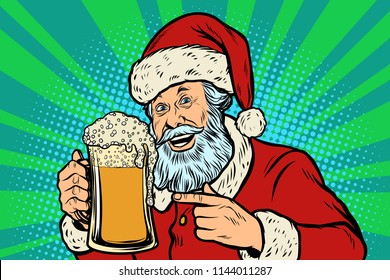 Santa Claus with a mug of beer foam. Christmas and New year. Comic cartoon pop art retro vector illustration drawing