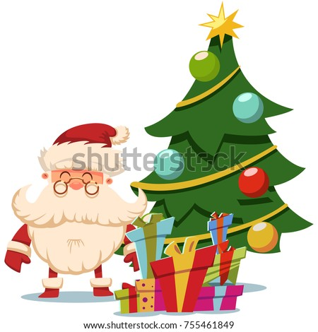 santa claus near christmas tree and pile of gifts boxes vector cartoon illustration isolated on - Santa Claus Christmas Tree
