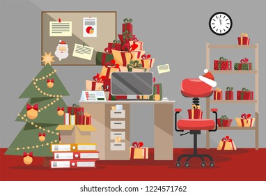 Santa Claus office with mountain of gifts. Piles of present boxes with ribbons and Stack of documents lie on table, floor, shelf. Interior of room is decorated with Christmas tree. Flat cartoon vector