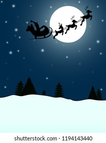 Santa Claus on a background of the full moon