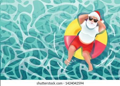Santa Claus on the beach for summer christmas or holiday banners