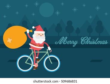 Santa Claus On Bike. Christmas background illustration design.