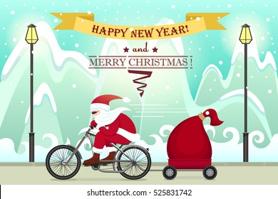Santa Claus on bike. Christmas and Happy New year colourful cartoon poster. Vector illustration. Santa Claus rides on the road on a background of mountains and snow.