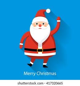 Santa Claus on blue background, flat style graphics, illustration
