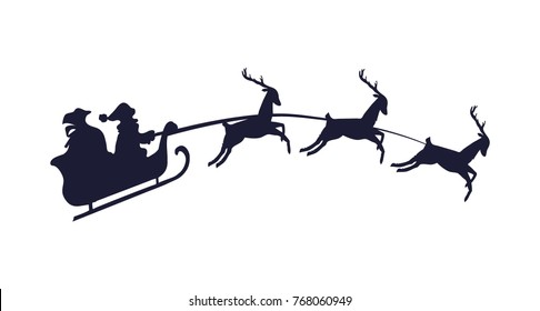 Santa claus on Christmas sledge with bag of presents delivers gifts by three deers black and white vector illustration isolated on bright background