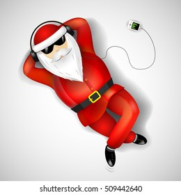 Santa Claus on headphones with the player resting on the floor.