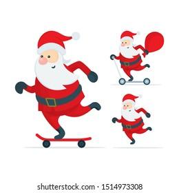 Santa Claus on kick scooter. Christmas Santa Claus characters vector illustration. Part of set.