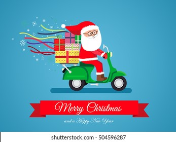 Santa Claus on a scooter, Merry christmas and a happy new year