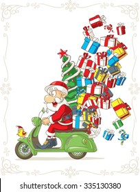 Santa Claus on Scooter Silly Vector Cartoon - Illustration of Santa Claus riding scooter delivering Christmas presents