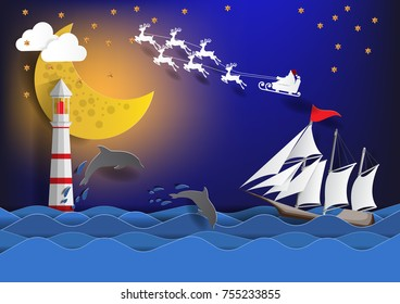 Santa Claus on the sky cross the sea with sailing boat and   Merry Christmas and Happy New Year ,paper art