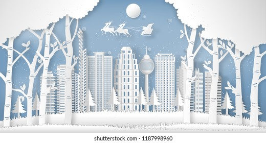 Santa Claus on the sky in the winter season with cityscape , forest and snow  as Paper art and digital craft style concept. vector illustration