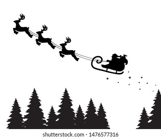 Santa Claus on the sky in winter season.Merry Christmas and Happy New Year. paper art design.Vector EPS 10.