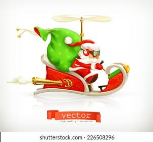 Santa Claus on sledge, vector illustration