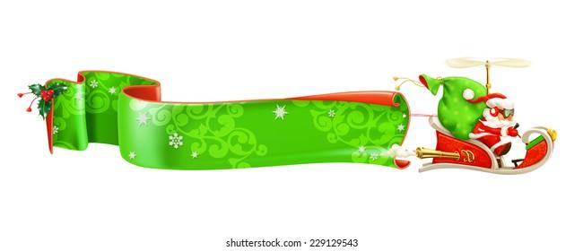 Santa Claus on sledge, vector banner
