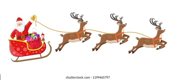 Santa claus on sleigh full of gifts and his reindeers. Happy new year decoration. Merry christmas holiday. New year and xmas celebration. Vector illustration in flat style