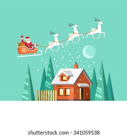 Santa Claus on sleigh and his reindeers. Winter house. Christmas card. Vector illustration, flat style.