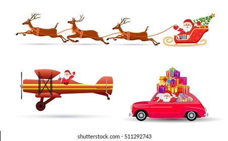 Santa Claus on Sleigh and His Reindeers, car with giftbox, airplane Isolated on White Background. vector illustration