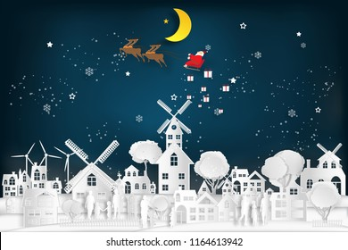 Santa Claus on Sleigh and Reindeer over Snowman on snowflakes and merry christmas in the winter background as holiday and x'mas day concept. vector illustration.