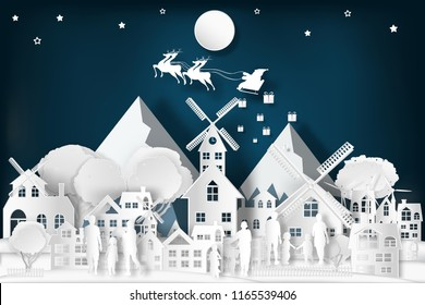Santa Claus on Sleigh and Reindeer over the snow city and merry christmas in the winter background as holiday and x'mas day concept. vector illustration.