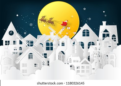 Santa Claus on Sleigh and Reindeer over the snow city clouds and merry christmas in the winter background as holiday and x'mas day concept. vector illustration.