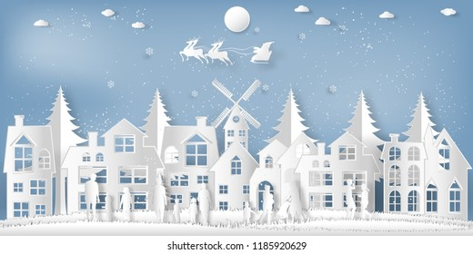 Santa Claus on Sleigh and Reindeer , People come out to celebrate merry christmas in the winter background as holiday and x'mas day concept. vector illustration.