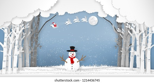 Santa Claus on Sleigh, Reindeer and snowman in the winter season with trees , forest and snow on the blue sky as Paper art , cut and digital craft style concept. vector illustration
