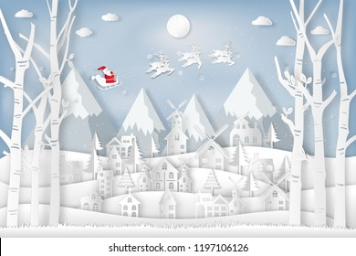 Santa Claus on Sleigh and Reindeers in the snow village in the winter background as holiday and x'mas day concept. vector illustration.