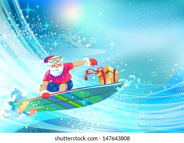 Santa Claus on surfing board delivering Christmas gift. Happy Holidays. Vector EPS 10 illustration.