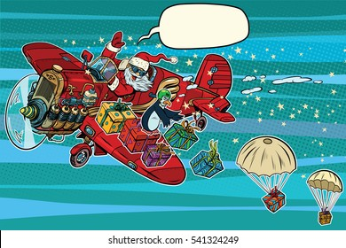 Santa Claus on vintage planes dropped Christmas gifts