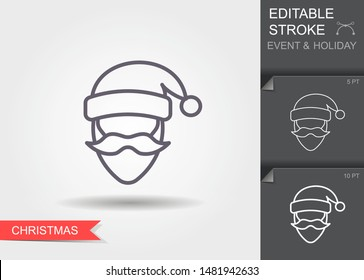 Santa Claus. Outline icon with editable stroke. Linear symbol of the holiday with shadow
