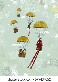 Santa Claus and parachute